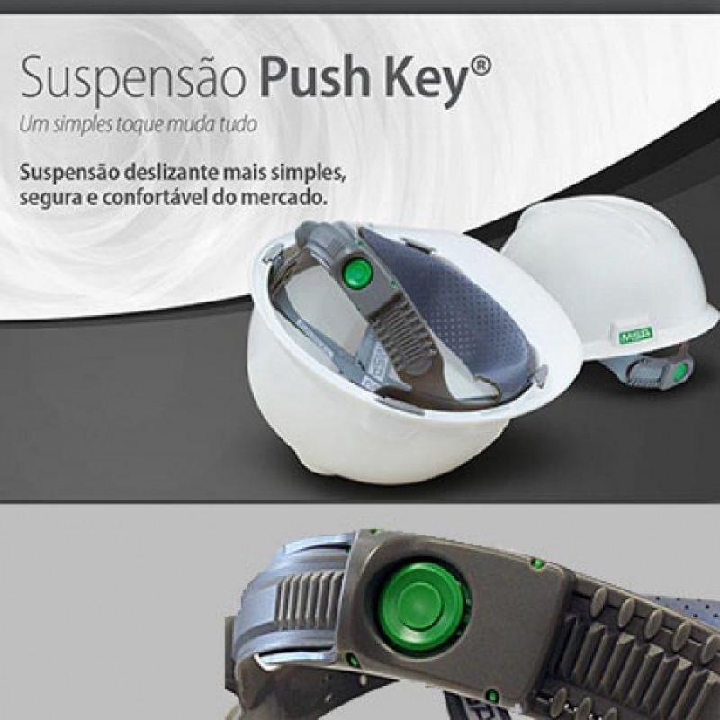 capacete msa v-gard branco + suspensão push-key com jugular