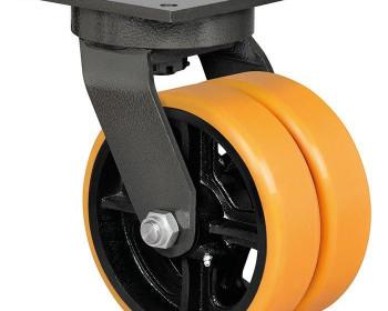 O rodízio Schioppa 312 tem o diâmetro de 3 polegadas com placa fixa ou giratória com 4 furos para fixar. O rodízio de ferro ou poliuretano pode ser equipado com rolamento de esfera/rolete que diminuem o peso da carga transportada.