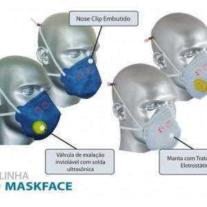 Com a máscara descartável Maskface valvulada o ar fica limpo, pois esta filtra impurezas suspensas no ar. O produto conta com certificado de aprovação (C.A), além de ser atestado por laboratórios nacionais e internacionais para melhor segurança e o uso tranquilo nas mais exigentes áreas do mercado brasileiro.