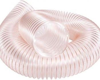Fabricada em poliuretano, a mangueira Kanaflex flexível KPU-C é indicada na sucção e condução de apares, cavaco de madeira, fuligens e outras utilizações que têm abrasão elevada. Esta é transparente com espiral de aço cobreado.